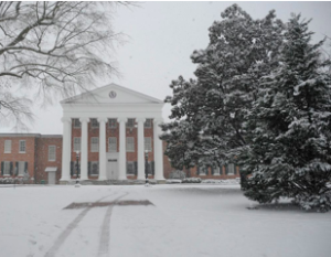 Lyceum building with snow